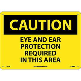 "NMC C151RB OSHA Sign, Caution Eye & Ear Protection Required In This Area, 10"" X 14"", Yellow/Black"
