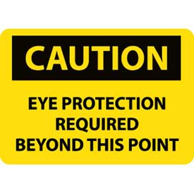 """NMC C152P OSHA Sign, Caution Eye Protection Required Beyond This Point, 7"""" X 10"""", Yellow/Black by"""