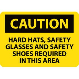 "NMC C160AB OSHA Sign, Caution Hardhats Safety Glasses & Safety Shoes Required, 10"" X... by"