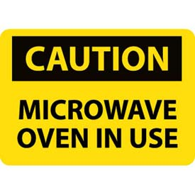 "NMC C180R OSHA Sign, Caution Microwave Oven In Use, 7"" X 10"", Yellow/Black by"