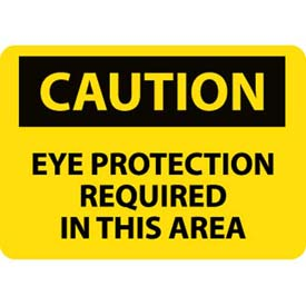 """NMC C26AB OSHA Sign, Caution Eye Protection Required In This Area, 10"""" X 14"""", Yellow/Black by"""