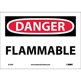 "NMC D126P OSHA Sign, Danger Flammable, 7"" X 10"", White/Red/Black"
