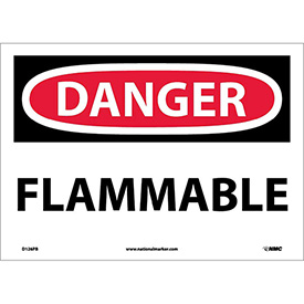 "NMC D126PB OSHA Sign, Danger Flammable, 10"" X 14"", White/Red/Black"