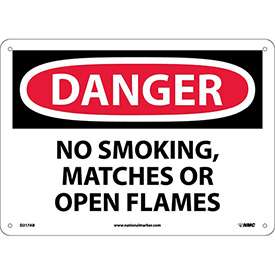 """NMC D217AB OSHA Sign, Danger No Smoking Matches Or Open Flames, 10"""" X 14"""", White/Red/Black"""