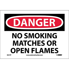 "NMC D217P OSHA Sign, Danger No Smoking Matches Or Open Flames, 7"" X 10"", White/Red/Black"