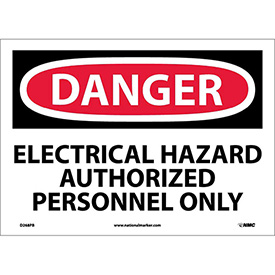"NMC D268PB OSHA Sign, Danger Electrical Hazard Authorized Personnel Only, 10"" X 14"", White/Red/Black"