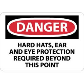 """OSHA Sign, Danger Hardhats, Ear & Eye Protection Required Beyond This Point, 10"""" X 14"""", Wht/Rd/Blk by"""