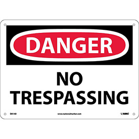 "NMC D81AB OSHA Sign, Danger No Trespassing, 10"" X 14"", White/Red/Black"