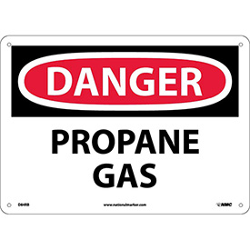 "NMC D84RB OSHA Sign, Danger Propane Gas, 10"" X 14"", White/Red/Black"