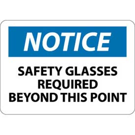 "NMC N18AB OSHA Sign, Notice Safety Glasses Required Beyond This Point, 10"" X... by"