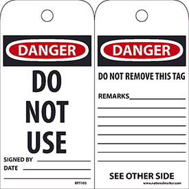 "NMC RPT105 Tags, Do Not Use, 6"" X 3"", White/Red/Black, 25/Pk"