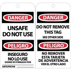 "NMC RPT154 Tags, Unsafe Do Not Use, Bilingual, 6"" X 3"", White/Red/Black, 25/Pk"