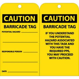 "NMC RPT166 Tags, Caution Barricade Tag, 6"" X 3"", Yellow/Black, 25/Pk"