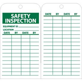 "NMC RPT170 Tags, Safety Inspection, 6"" X 3"", White/Green, 25/Pk"