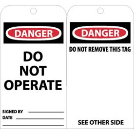 "NMC RPT1AG Tags, Danger Do Not Operate, 6"" X 3"", White/Red/Black, 25/Pk"