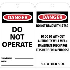 "NMC RPT1G Tags, Danger Do Not Operate, 6"" X 3"", White/Red/Black, 25/Pk"