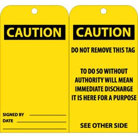 "NMC RPT28 Tags, Caution, 6"" X 3"", Yellow/Black, 25/Pk"