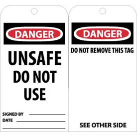 "NMC RPT34 Tags, Danger Unsafe Do Not Use Operate, 6"" X 3"", White/Red/Black, 25/Pk"