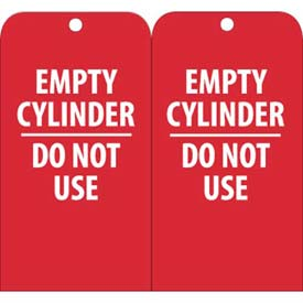 "NMC RPT35 Tags, Empty Cylinder Do Not Use, 6"" X 3"", White/Red, 25/Pk"