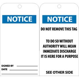 "NMC RPT38 Tags, Notice, 6"" X 3"", White/Blue, 25/Pk"
