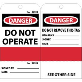 "NMC RPT499 Tags, Do Not Operate (Perforated), 6"" X 3"", White/Red/Black, 25/Pk"