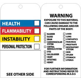 "NMC RPT76 Tags, Hazardous Communications Bar Tag, 6"" X 3"", White/Black, 25/Pk"