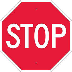 "NMC TM13H Traffic Sign, Stop Sign, .063 MIL, 24"" X 24"", White/Red"