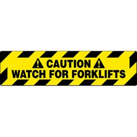 """NMC WFS629 Walk On Floor Sign, Caution Watch For Forklifts, 6"""" X 24"""", Yellow/Black"""