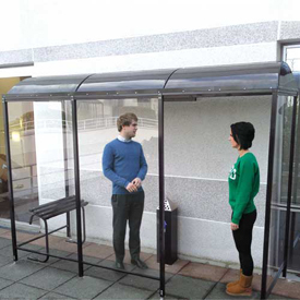 """No Butts 3 Sided Smoking Shelter NBS0820BW Back To Wall 17'2""""W x 7'D x 7'11""""H Black by"""