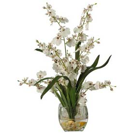 Nearly Natural Dancing Lady Orchid Liquid Illusion Silk Flower Arrangement, White