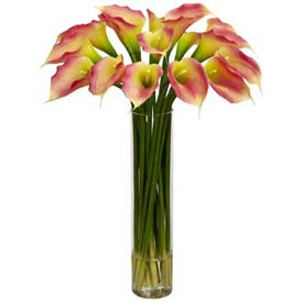 Nearly Natural Calla Lilly with Cylinder Silk Flower Arrangement, Pink