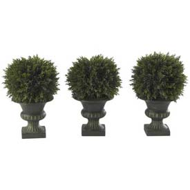 Nearly Natural 9'' Cedar Ball Topiary (Set of 3)