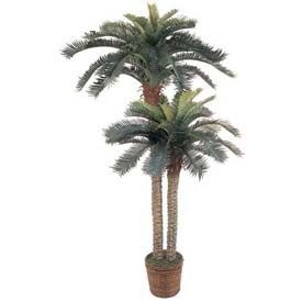 Nearly Natural 6' & 4' Sago Palm Double Potted Silk Tree