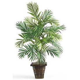 Nearly Natural Areca Palm with Wicker Basket Silk Plant