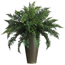 Nearly Natural Ruffle Fern with Decorative Vase Silk Plant