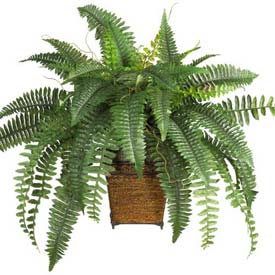 Nearly Natural Boston Fern with Wicker Basket Silk Plant