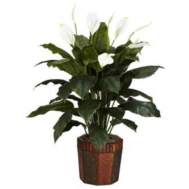 Nearly Natural Spathiphyllum with Vase Silk Plant