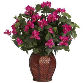 Nearly Natural Bougainvillea with Vase Silk Plant