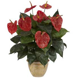 Nearly Natural Anthurium with Ceramic Vase Silk Plant