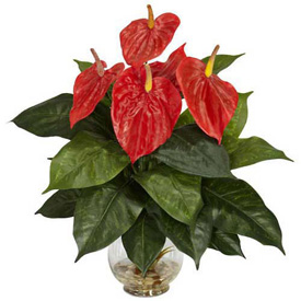 Nearly Natural Anthurium with Fluted Glass Vase Silk Plant