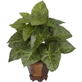 Nearly Natural Taro with Vase Silk Plant