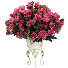 Nearly Natural Azalea with Metal Planter Silk Plant