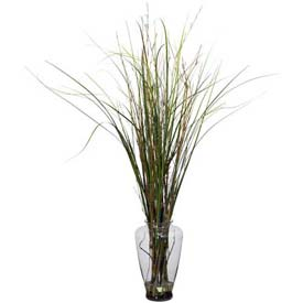 Nearly Natural Grass & Bamboo with Large Jar Silk Plant