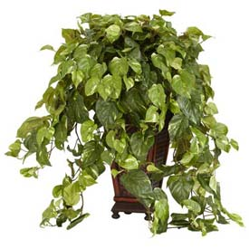 Nearly Natural Vining Pothos with Decorative Vase Silk Plant