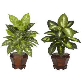 Nearly Natural Dieffenbachia with Wood Vase Silk Plant (Set of 2), Assorted