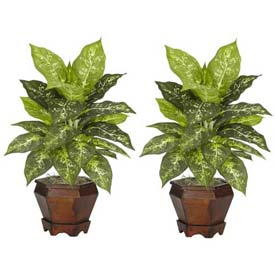 Nearly Natural Dieffenbachia with Wood Vase Silk Plant (Set of 2), Variegated