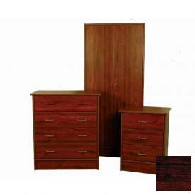 "NK Medical Wardrobe, Monroe, 2 Doors/2 Drawers, 24"" Interior, 25-1/2""W X 24""D X72""H, Cherry Mahogany"
