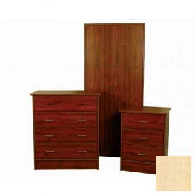 "NK Medical Wardrobe, Monroe, 2 Doors/2 Drawers, 24"" Interior, 25-1/2""W X 24""D X 72""H, Honey Maple"