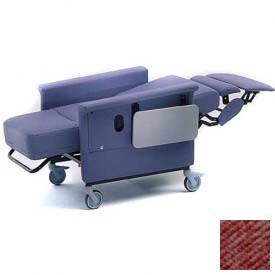 "Recliner Chair, 3 Positions, Infinite Recline, 3"" Casters, Swing Arms, 300 Lbs. Max, Cranberry"