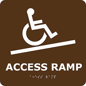 Graphic Braille Sign - Access Ramp - Brown